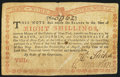 Colonial Notes:New York, New York August 2, 1775 (Water Works) 8s Very Fine.