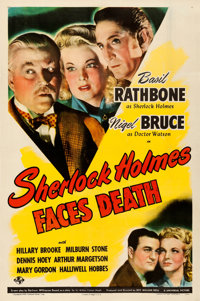 "Sherlock Holmes Faces Death (Universal, 1943). Very Fine on Linen. One Sheet (27"" X 41"")"