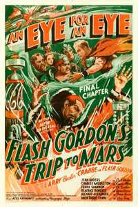 "Flash Gordon's Trip to Mars (Universal, 1938). Fine/Very Fine on Linen. One Sheet (27"" X 41"") Chapter 15 -- &q..."