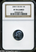 Proof Roosevelt Dimes: , 2000-S 10C Silver PR 70 Cameo NGC. ...