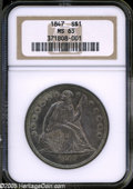 "Seated Dollars: , 1847 S$1 MS63 NGC. The current Coin Dealer Newsletter (Greysheet)wholesale ""bid"" price is $3000.00...."
