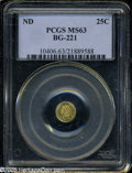 California Fractional Gold: , Undated 25C Liberty Round 25 Cents, BG-221, R.3, MS63 PCGS. ...