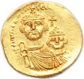 Ancients:Byzantine, Ancients: Heraclius (AD 610-641) and Heraclius Constantine (AD613-641). AV solidus (21mm, 4.50 gm, 6h). AU, graffito....