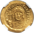 Ancients:Byzantine, Ancients: Justinian I the Great (AD 527-565). AV solidus (22mm,4.41 gm, 7h). NGC MS 5/5 - 4/5, clipped....