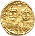 Ancients:Byzantine, Ancients: Heraclius (AD 610-641) and Heraclius Constantine.AVsolidus (19mm, 4.44 gm, 6h). AU, flan cut, graffito....