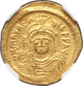 Ancients:Byzantine, Ancients: Maurice Tiberius (AD 582-602). AV lightweight solidus of22 siliquae (21mm, 4.06 gm, 7h). NGC MS 4/5 - 4/5....