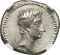 Ancients:Roman Imperial, Ancients: Augustus (27 BC-AD 14). AR denarius (20mm, 3.81 gm, 6h). NGC Choice XF 3/5 - 2/5, brushed....