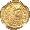 Ancients:Byzantine, Ancients: Maurice Tiberius (AD 582-602). AV semissis (18mm, 2.20gm, 6h). NGC MS 5/5 - 4/5....