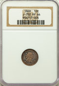Patterns, 1869 10C Standard Silver Ten Cents, Judd-702, Pollock-781, R.5, PR64 NGC. NGC Census: (9/6). PCGS Population: (12/14). ...