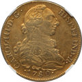 Colombia, Colombia: Charles III gold 8 Escudos 1780 P-SF XF45 NGC,...