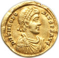Ancients:Roman Imperial, Ancients: Theodosius I, Eastern Roman Empire (AD 379-395). AVsolidus (20mm, 3.96 gm, 12h). VF, clipped, ex jewelry....