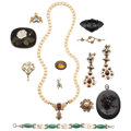 Estate Jewelry:Lots, Multi-Stone, Diamond, Cultured Pearl, Gold, Base Metal Jewelry. ... (Total: 12 Items)
