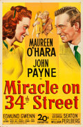 "Movie Posters:Comedy, Miracle on 34th Street (20th Century Fox, 1947). Folded, Fine/VeryFine. One Sheet (27"" X 41"").. ..."