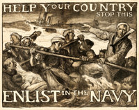 "World War I Propaganda (U.S. Navy, 1917). Fine/Very Fine on Linen. Poster (78.5"" X 62"") ""Help Your Countr..."