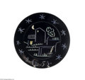 Ceramics & Porcelain, A CONTINENTAL CERAMIC CHARGER. Picasso, c.1953. The black ground incised with a night image of a house, tree, fence under ...