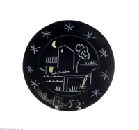 A CONTINENTAL CERAMIC CHARGER Picasso, c.1953  The black ground incised with a night image of a house, tree, fence under...