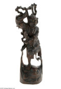 Decorative Arts, Continental:Other , A CHINESE CARVED WOOD FIGURE...