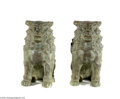 Decorative Arts, Continental:Other , A PAIR OF BRONZE FOO DOGS... (2 Items)