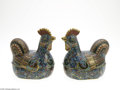 Decorative Arts, Continental:Other , A PAIR OF CLOISONNE HENS... (2 Items)