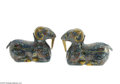 Decorative Arts, Continental:Other , A PAIR OF CHINESE FIGURAL COVERED BOXES/CANDLE HOLDERS... (2 Items)