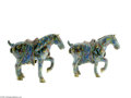 Decorative Arts, Continental:Other , A PAIR OF CHINESE CLOISONNE HORSES... (2 Items)