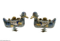 A PAIR OF CHINESE CLOISONNE DUCKS Maker unknown, late Qing Dynasty  The pair of ducks, one looking left, the other right...