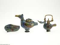 THREE CLOISONNE CENSERS Makers unknown, c.1900  Comprising a duck form censer in a blue ground, the lid attached to the...