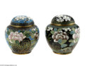 Decorative Arts, Continental:Other , TWO CLOISONNE GINGER JARS... (4 Items)