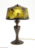 Art Glass:Other , AN AMERICAN TABLE LAMP WITH REVERSE-PAINTED GLASS SHADE...
