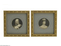 Decorative Arts, English:Other , PAIR OF SCULPTED PHOTOGRAPHS... (2 Items)