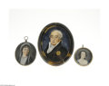 Fine Art - Painting, European:Antique  (Pre 1900), THREE CONTINENTAL WATERCOLOR ON IVORY MINIATURE PORTRAITS... (3Items)