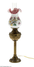 Decorative Arts, Continental:Lamps & Lighting, Stevens and Williams: A BRASS OIL LAMP (Stevens and Williams)...