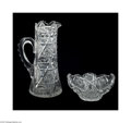 Art Glass:Other , A CUT GLASS PITCHER AND ICE TUB... (2 Items)