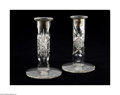 Art Glass:Other , A PAIR OF AMERICAN BRILLIANT CUT GLASS CANDLESTICKS... (2 Items)