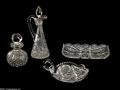 Glass, FOUR AMERICAN BRILLIANT CUT GLASS ITEMS. Hawkes, various makers, c.1900. Comprising a Hawkes cologne bottle, globular form... (Total: 6 Items Item)