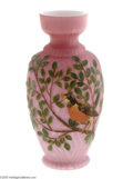 Art Glass:Other , A DECORATED SATIN GLASS VASE...