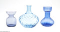 Art Glass:Other , TWO BLUE BULB VASES AND A DIAMOND QUILT VASE... (3 Items)