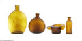 Art Glass:Other , THREE AMERICAN MOLD-BLOWN GLASS BOTTLES AND A WHIMSY... (4 Items)