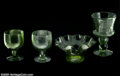 Art Glass:Other , TWO ENGLISH WINE GLASSES AND AN AMERICAN GLASS BOWL AND WINEGLASS... (11 Items)