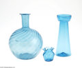 Art Glass:Other , THREE SOUTH JERSEY AQUA GREEN GLASS ITEMS... (3 Items)