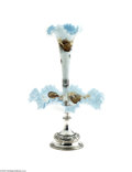 Art Glass:Other , A SATIN GLASS EPERGNE WITH SILVERPLATED MOUNTS... (4 Items)