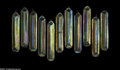 Art Glass:Other , ELEVEN AMERICAN ART NOUVEAU IRIDESCENT GOLD GLASS LUSTRE PRISMS...