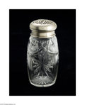 Decorative Arts, Continental:Other , A CONTINENTAL SILVER AND CUT GLASS SUGAR CASTER...