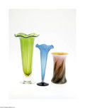 Art Glass:Other , THREE AMERICAN ART GLASS VASES... (3 Items)