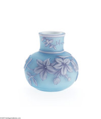 AN ENGLISH TRIPLE-OVERLAID AND ETCHED GLASS CABINET VASE Thomas Webb & Sons, c.1890  The bulbous form overlaid in ce...