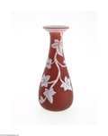 Art Glass:Other , AN ENGLISH OVERLAID AND ETCHED GLASS VASE...