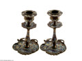 Decorative Arts, Continental:Lamps & Lighting, A PAIR OF CHAMPLEVE ENAMEL CANDLESTICKS... (6 Items)