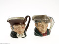Ceramics & Porcelain, British:Modern  (1900 1949)  , TWO ENGLISH PORCELAIN TOBY MUG CREAMERS... (2 items)