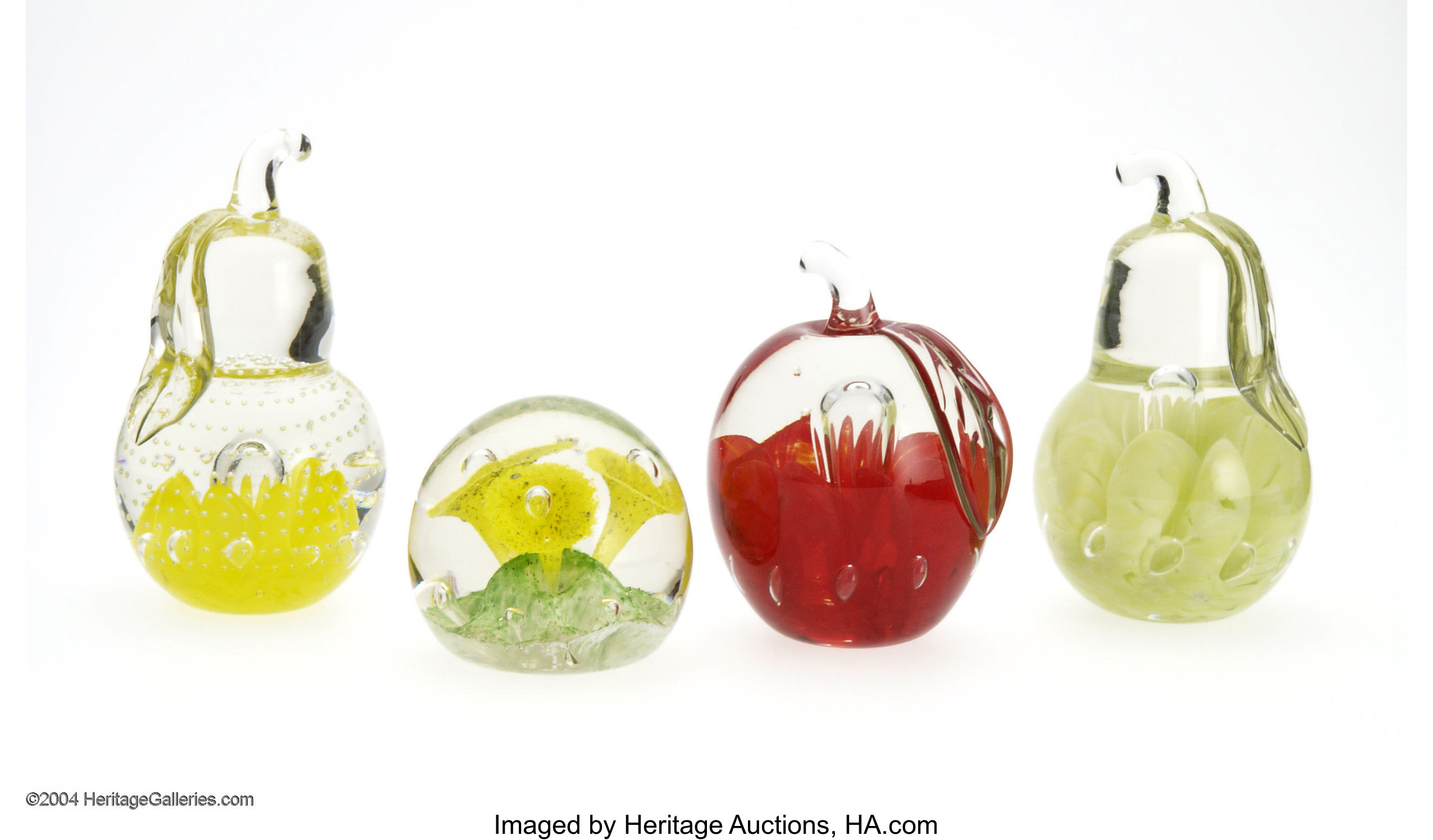 FOUR AMERICAN GLASS PAPERWEIGHTS  Probably Joe St  Clair, c
