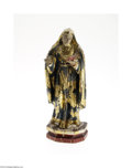 Fine Art - Sculpture, American:Antique (Pre 1900), A WOODEN GILT AND POLYCHROME DECORATED SANTOS FIGURE...